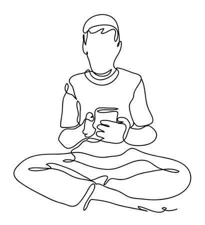 Man isolated on white background, looking agitated at display of her smartphone. Continuous line drawing. Vector monochrome, drawing by lines.
