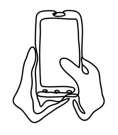 Closeup shot of a woman typing on mobile phone isolated on white background. Continuous line drawing. Vector monochrome, drawing by lines. sketch