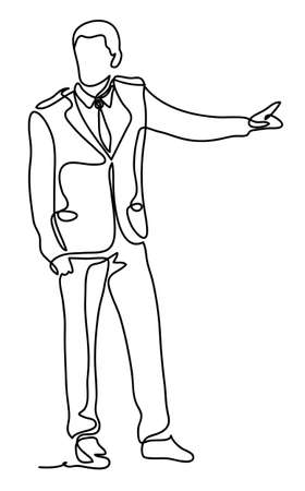Handsome businessman pointing with finger. Continuous line drawing. Isolated on the white background. Vector monochrome, drawing by lines. sketch
