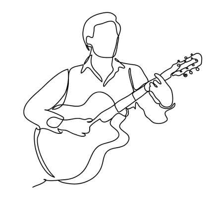 De man die gitaar speelt. Vector illustratie Geïsoleerd op witte achtergrond Doorlopende lijntekening. Vector zwart-wit, tekening door lijnen.