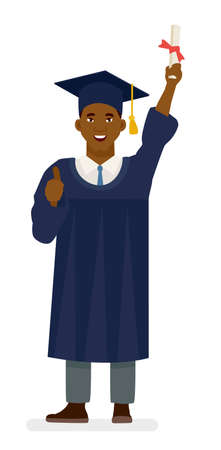 Education, graduation and people concept - happy african american student in mortar boards and bachelor gowns with diplomas. Cartoon vector flat character illustration on white background. Illustration