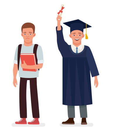 Education, graduation and people concept - close up of happy student. Cartoon vector character illustration on white background.