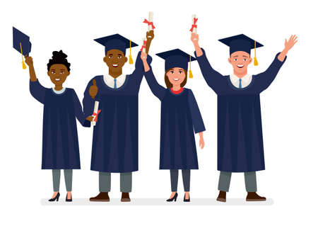 Education, graduation and people concept - group of happy international students in mortar boards and bachelor gowns with diplomas. Cartoon vector character illustration on white background.