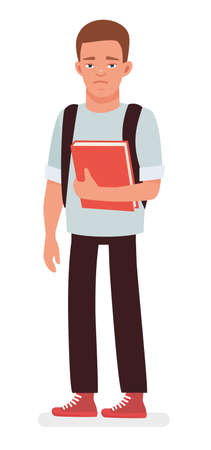 Sad Student with the Book. Cartoon vector character illustration on white background. Çizim
