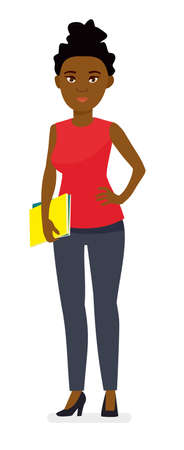 College student young African American. Cartoon vector flat character illustration on white background. Illustration