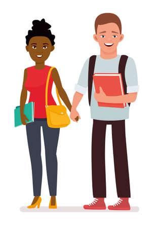 International couple students. Cartoon vector flat character illustration on white background.