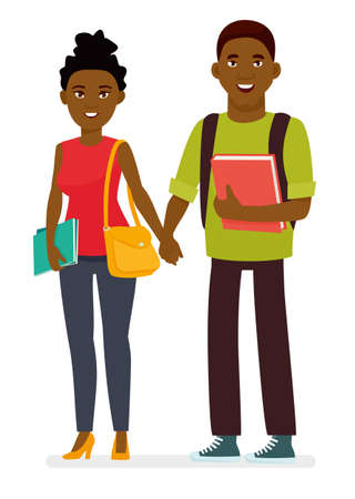 Young afro american couple of students with books and school bags in a white background. Cartoon vector flat character illustration.
