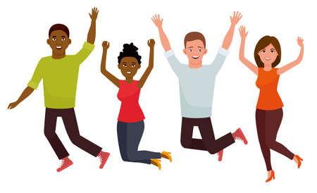 Young student group jumping people isolated in a white background. Cartoon vector flat character illustration.