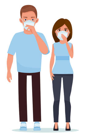 Couple in blue face masks with heads together against white background. Cartoon vector illustration. Flat cartoon illustration. Illustration
