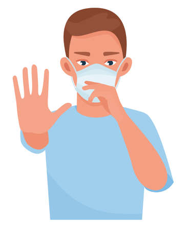Handsome man showing gesture stop. Healthy man wears protective mask against infectious diseases and flu. Health care concept. Cartoon vector illustration.