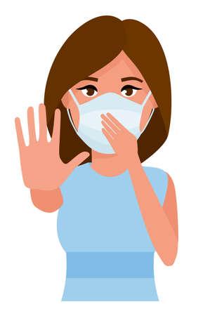 Mujer mostrando parada de gesto. Mujer joven con máscara de cuidado de la salud de la medicina contra el fondo de la habitación blanca. Ilustración vectorial de dibujos animados. Ilustración de vector