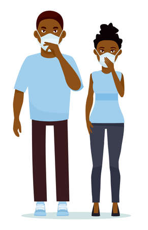 African couple wearing surgical mask against white background. Cartoon vector illustration. Çizim
