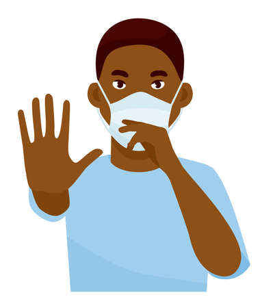 Handsome african man showing gesture stop. Healthy man wears protective mask against infectious diseases and flu. Health care concept. Cartoon vector illustration.