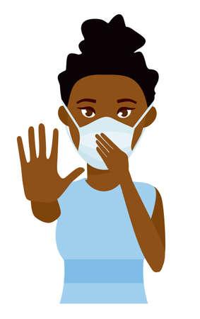Donna africana che mostra arresto di gesto. Giovane donna con la maschera di assistenza sanitaria medicina su sfondo bianco camera. Illustrazione di vettore piatto del fumetto.