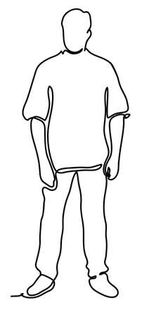Handsome man. Continuous line drawing. Isolated on the white background. Vector monochrome