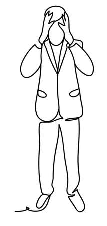 Tense man in suit grabbing his head being stressed and thinking about solution of problem. Business concept illustration. Continuous line drawing. Isolated on the white background. Vector illustration