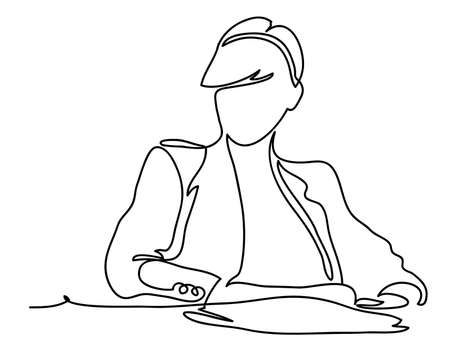 Businesswoman sitting at her workplace in office. Business concept illustration. Continuous line drawing. Isolated on the white background. Vector illustration monochrome