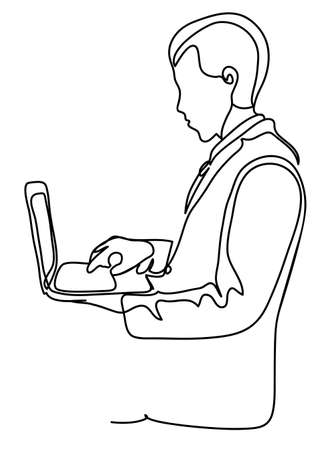 Successful businessman in suit stands sideways, holding laptop at hands. Business concept illustration. Continuous line drawing. Isolated on the white background. Vector illustration monochrome