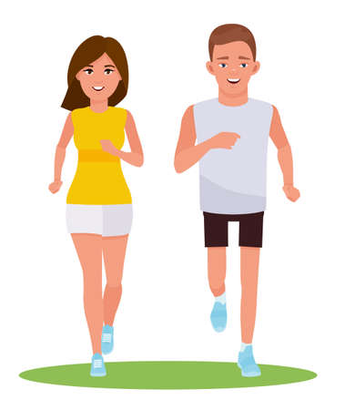 Young couple running. Vector cartoon design illustration isolated on white background.
