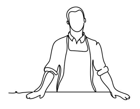 Handsome man cook. Continuous line drawing. Isolated on the white background. Vector illustration monochrome