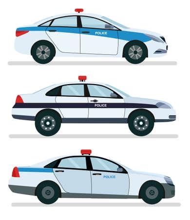 Seitenansicht des Polizeiautos lokalisiert auf Weiß. Vektorkarikatur-Entwurfsillustration lokalisiert auf weißem Hintergrund.