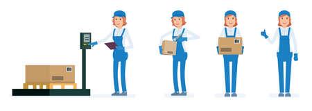 Femme travaillant l'entrepôt. Jeu de caractères de dessin animé de travailleurs d'entrepôt. Illustration vectorielle de style plat