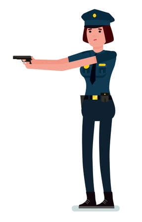 Police officer with a hand gun in his hands. Policewoman with a gun on the job. Vector flat cartoon design illustration isolated on white background.