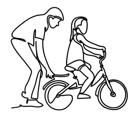 Caring dad teaching daughter to ride bike for the first time. Continuous line drawing. Isolated on the white background. Vector monochrome, drawing by lines