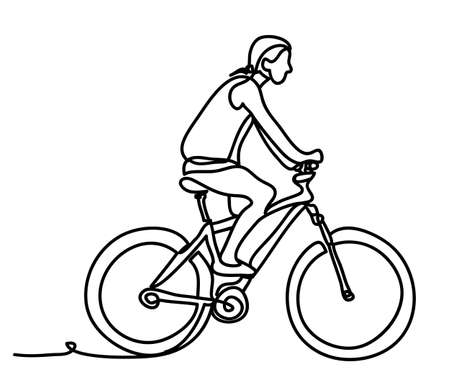Man riding a bicycle outside. Concentrated young guy using his bike in the courtyard. Continuous line drawing. Isolated on the white background. Vector monochrome