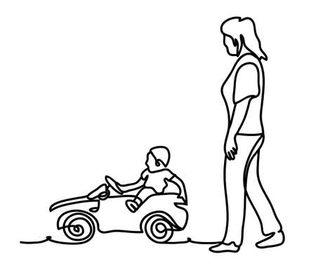 Mother and son outdoor lifestyle portrait in a park setting. Continuous line drawing. Isolated on the white background. Vector monochrome 일러스트