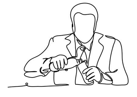 Portrait of handsome businessman drinking water after a difficult talk. Professional vector illustration isolated on white background. Continuous line drawing. Vector, drawing by lines