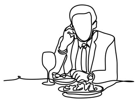 Businessman during lunch time and using mobile phone. Professional vector illustration isolated on white background. Continuous line drawing. Vector, drawing by lines Illustration