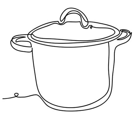 Pot icon Vector illustration isolated on white background. Continuous line drawing. Monochrome, drawing by lines
