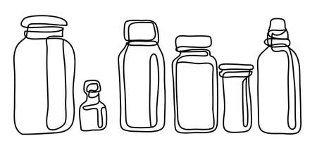 Plastic jar with screw cap, Vector illustration isolated on white background. Continuous line drawing. Monochrome, drawing by lines Иллюстрация