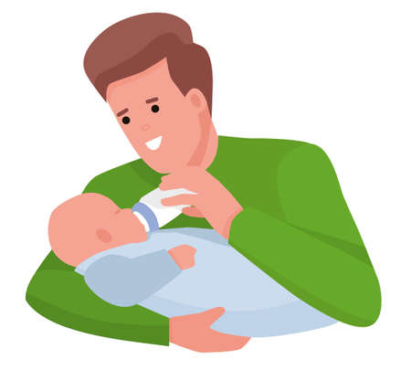 happy young father feeding newborn baby with milk bottle on couch at home. Cartoon flat vector illustration
