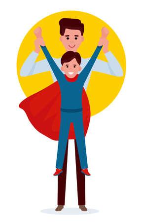 Kid boy playing super hero with father. Cartoon vector flat illustration. Stock Illustratie