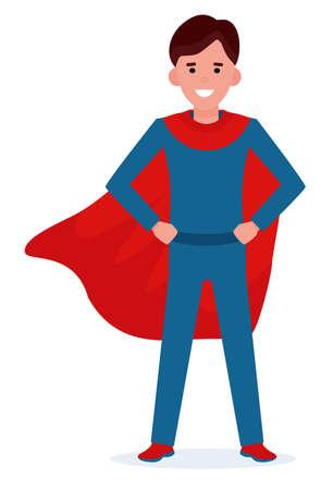 Chico joven en pose de superman con un manto rojo. Personaje de niño sonriente en diseño plano de dibujos animados. Ilustración vectorial.
