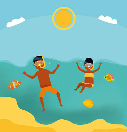 Cute teenage boy and girl swimming underwater in shallow turquoise water at tropical beach. Cartoon flat style illustration. African american people. Stok Fotoğraf