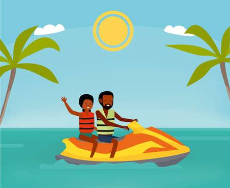 Happy couple rides a jet ski. Active travel concept. Cartoon flat style illustration. African american people. Foto de archivo - 109827307