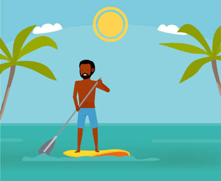 Great day to paddle. Handsome man surfing on his paddleboard and smiling. Active travel concept. Cartoon flat style illustration.