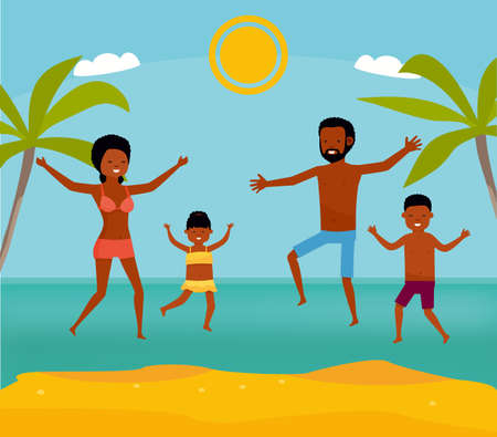 happy african family have fun and live healthy lifestyle on beach. Active travel concept. Cartoon flat style illustration. Foto de archivo
