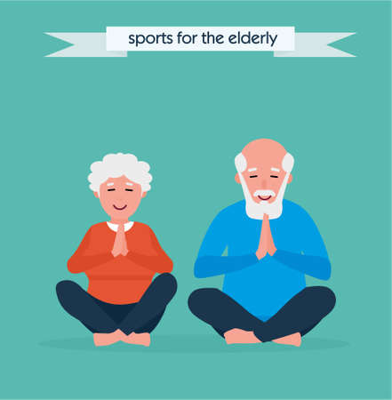 Senior couple is doing fitness training. Doing yoga together. Healthy lifestyle concept. Active sport concept. Cartoon flat style illustration