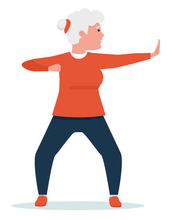 an elderly woman engaged in qigong. Healthy lifestyle. Flat cartoon illustration vector set. Active sport concept