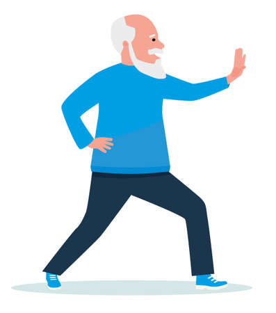 An elderly man is engaged in Chinese gymnastics. Exercise outdoors in the park. Healthy lifestyle. Flat cartoon illustration vector set. Active sport concept set.