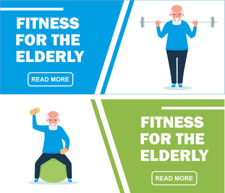 Senior man in gym working out with weights. Sport banners set. fitness for the elderly. Cartoon flat vector illustration