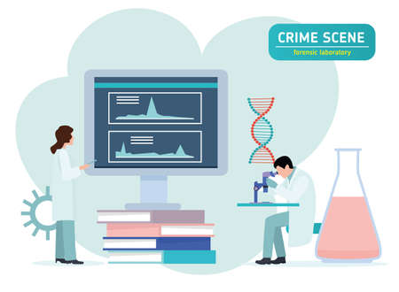Criminologist laboratory assistant looking through a microscope in a laboratory. forensic laboratory. Crime scene investigation. Forensic examination concept. Flat vector illustration.