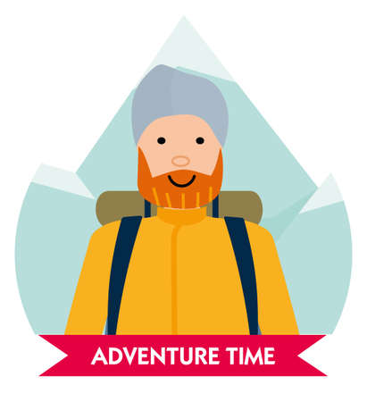 Let the adventure begin. Happy mountaineer in anticipation of adventure. Design element for poster, card. Vector illustration. Flat vector illustration.