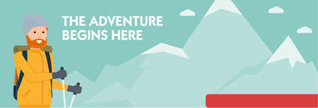 Climber on a mountain trail. The adventure begins here. Banner. Active sport concept. vector cartoon flat illustration