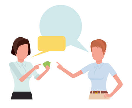 Businesswoman talking with partner, team of professional employees discussing ideas. Cartoon vector illustration