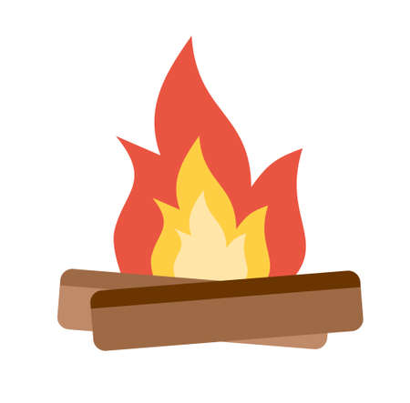 Summer Camp Fire. Design element for poster, card. Vector illustration. Flat vector illustration. Иллюстрация